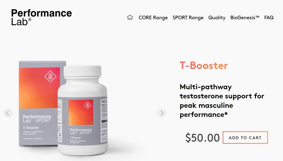 performance lab t-booster website